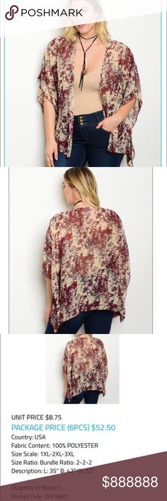"""❗️PLUS-COMING SOON❗️ ‼️PLUS SIZE COMING SOON‼️.                  NEW Burgundy Beige Plus Size Cardigan100% Polyester                                    ✨L : 35"""" B: 42"""" W: 52""""✨                        ✅Offers Welcomed.                                         Lowball offers                                              Trades Sweaters Cardigans"""