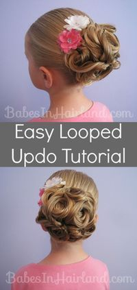 Easy Looped Updo from BabesInHairland.com  Step 1 – Make a ponytail Step 2 – Wrap small sections of hair around fingers Step 3 – Gently push wrapped hair off fingers Step 4 – Secure loop with bobby pins as needed Step 5 – Repeat steps 2-4 until you run out of hair