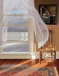 GIF- Experience the fresh sea breeze blowing through open window curtains!
