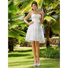 Chic & Modern/Glamorous & Dramatic/Reception A-line/Princess Sweetheart/Strapless Knee-length Wedding Dress ( Lace ) – USD $ 69.99