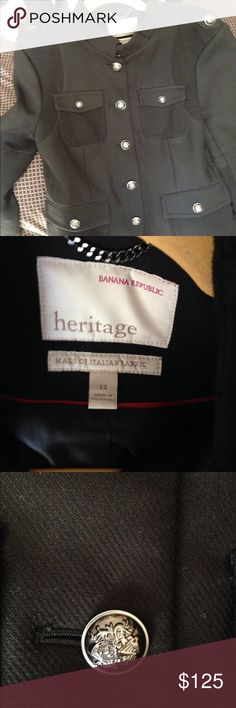 Banana Republic military style jacket! Nwt, heritage collection. Black with bronze buttons. Banana Republic Jackets & Coats Blazers