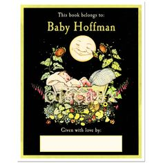 Baby Shower  Personalized Bookplates  Baby & Moon Book by oiseaux