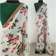 SUMMER LOVE border they have used is a deep bottle green qoven one with sequin embroidery with pink thread work touches. The blouse fabric is a green raw silk. Chiffon Saree, Georgette Sarees, Banarsi Saree, Raw Silk Saree, Lace Saree, Kalamkari Saree, Floral Print Sarees, Saree Floral, Printed Sarees