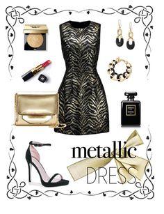"""Metallic dress"" by kenga08 ❤ liked on Polyvore featuring Roberto Cavalli, Boohoo, Louise et Cie, Michael Kors, Bobbi Brown Cosmetics, Chanel and metallicdress"