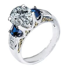 Engagement Ring - Handcrafted Two-tone Yellow Gold & Platinum Diamond and sapphire Engagement Ring Setting 0.70 tcw. - ES256