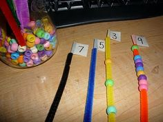 great for a math numbers counting center activity.  Could also use for patterning!