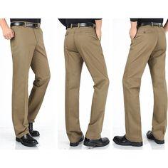 Mens más el tamaño ocasional del color sólido pantalones de algodón clásica de negocio de pierna recta