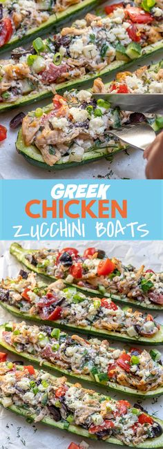 These Greek Chicken Zucchini Boats are Bursting with Epic Flavor! These Greek Chicken Zucchini Boats are Bursting with Epic Flavor! Clean Recipes, Cooking Recipes, Healthy Recipes, Healthy Foods, Cannoli, Gnocchi, Chicken Zucchini Boats, Zucchini Noodles, Mozzarella