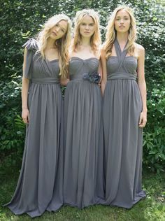 Long Gray Mix-Match Bridesmaid Dresses- Strapless, Sweetheart Cut, Halter, One Shoulder, Straps