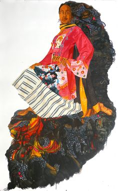 "Mequitta Ahuja - Crown And Throne, Enamel On Paper, 84""X52"" 2007 (Private Collection)"