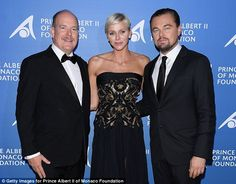 Good company: Leonardo DiCaprio posed with Prince Albert II of Monaco and his wife Princess Charlene at the Monte-Carlo Gala For Global Ocean on Thursday