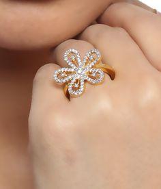 Shriya Sparkling Flower Ring with American Diamonds.