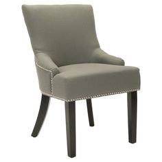Create a stylish reading nook or accent your seating group in timeless style with this sleek side chair, featuring gray upholstery and nailhead trim.     ...