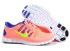 $93.98 discount to $46.99 for Womens Pink Blue Yellow Nike Free 5.0 Running Shoes