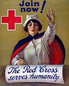 This Red Cross recruitment poster from WWI shows a Red Cross nurse seated at a desk, with her left arm raised: 'The Red Cross serves humanity. Join now.' Illustrated by C.W. Anderson between 1914 and 1918.