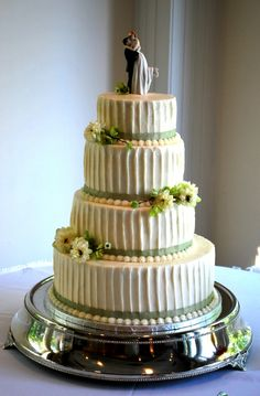 Textured Wedding Cake Four tiered cake with textured buttercream icing. Textured Wedding Cakes, Round Wedding Cakes, Wedding Cake Stands, Wedding Cake Toppers, Gluten Free Wedding Cake, Family Cake, Pretty Cakes, Cakes And More, Tiered Cakes