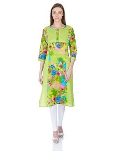 Ladies, Mens and Kids Fashion at Best Price: Woman Embroidered Printed Cotton Kurta