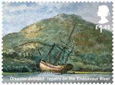 Great Britain 2018 - Captain Cook and Endeavour - Disaster avoided: Repairs on the Endeavour River Uk Stamps, Postage Stamps, Map Of New Zealand, Captain James Cook, Society Islands, The Endeavour, Penny Black, Stamp Collecting, Science And Nature