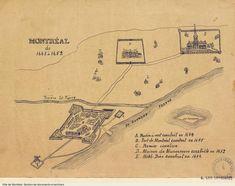 Montréal de 1645 à 1652, [19-], BM5,C26-042 Montreal Ville, Montreal Quebec, France 2, Genealogy Research, My Ancestors, Canada, Le Moulin, Map, History