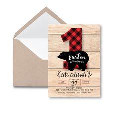 Lumberjack First Birthday Invitation / Printable, Customized, DIY invitation / bear, buffalo plaid, wood / Rustic Woodland Lumberjack boy by crazyfoxpaper on Etsy
