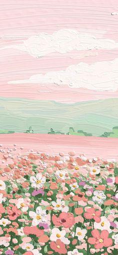 Simple Iphone Wallpaper, Cute Pastel Wallpaper, Soft Wallpaper, Flower Phone Wallpaper, Cute Patterns Wallpaper, Iphone Background Wallpaper, Painting Wallpaper, Scenery Wallpaper, Aesthetic Pastel Wallpaper