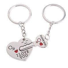 Voordelige RVS sleutelhangers voor verliefden (met harten, 2-delige set) – EUR € 1.54