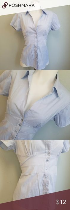 Antilia Femme Fitted Deep V Button Up Blouse Narrow blue pinstripe button down short sleeve top. Fitted, elastic rouched back for a form fitting, feminine fit. Waist accent. Deep V neck. Collar. Pleated style short sleeves. CUTE! Size Medium. Measurements to Come. Excellent Used Condition. No Flaws, stains, discoloration or holes. Antilia Femme Tops Button Down Shirts