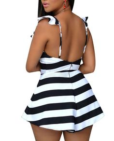 Amazon.com: Cfanny Women's Stripes Ruffle Sliky Backless Romper Jumpsuit Playsuit: Clothing