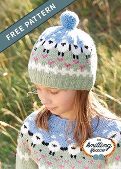Dance Knitted Kiddie Hat [FREE Knitting Pattern] : Knit your kiddo this adorable beanie with cute lamb design! This hat is a great way to add fun to their daily back to school outfits. Double Knitting Patterns, Fair Isle Knitting Patterns, Crochet Patterns, Hat Patterns, Free Childrens Knitting Patterns, Fair Isle Pattern, Knitted Hats Kids, Knitting For Kids, Free Knitting