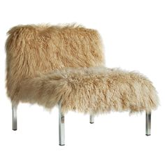 Baby Jane Slipper chair in shaggy Mongolian Lamb upholstery. My kids would love this piece.
