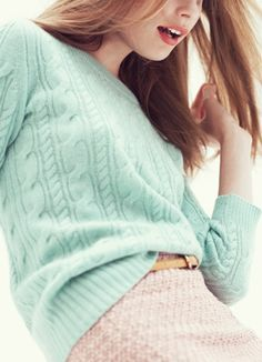 A mint cable-knit sweater is the perfect spring cover-up! #mintcondition