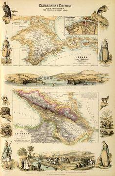 Крым и Кавказ, 1872 год / Старая английская карта - Старые карты - Terra Incognita. Сайт Рэдрика