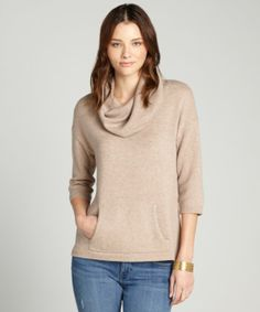 Design History : biscuit cashmere cowl neck 3/4 sleeve sweater : style # 323763002