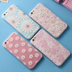 New Arrival Ultrathin Soft TPU Case for iPhone  6 6s 7 6/7 Plus Flowers Daisy Plant Sunflower Pattern Rhinestone Hot MN258-MN261