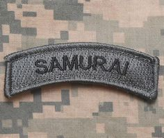 SAMURAI-ARMY-TAB-ROCKER-TACTICAL-MORALE-USA-MILITARY-BADGE-ACU-DARK-VELCRO-PATCH