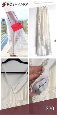 """Off White Lace/Crochet Hi-Low Summer Dress Worn Once for photoshoot, perfect condition 