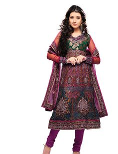 Magnificent rust color kalidar kameez is fabricated on net with amazing work patch on hemline and viscose yoke part are marvelous. Stylish kameez is prettified with shiny sequins, jari, resham embroidered floral motifs creeper are making it extraordinary creation. Paired with dark magenta color satin churidar and net dupatta with fancy patch border. Give yourself touch of class and charm with this timeless beauty.    Dress material  Unstitched Salwar Suit with dupatta.