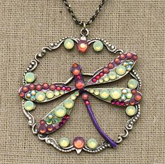 Light Green & Purple Whimsical Dragonfly & Circle Necklace with Swarovski Crystals