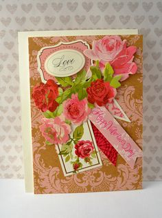 All of the cards in my shop are handmade by me with the highest quality materials and are one-of-a-kind!!  This Happy Valentines Day card is perfect for the special Valentine in your life.  The card included:  Valentines Day card features a stunning kraft paper and light pink damask background, 2 beautiful patterned flags, a rose tag, beautiful red and pink roses, and a gorgeous 3D Love sentiment and Happy Valentines Day sentiment. This card would be wonderful for your Valentine. This card…