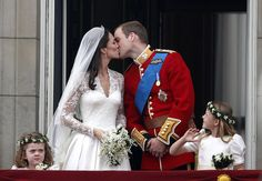 Prince William and Kate Middleton kissing.