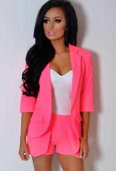 Neon Pink Short Suit ☻                                                                                                                                                                  ⇜•ṄεΦЙ❉€яᗛƶΣ•⇝