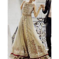 Golden Embroidered Crinkle Chiffon Anarkali Style Bridal Dress Contact: (702) 751-3523  Email: info@pakrobe.com  Skype: PakRobe