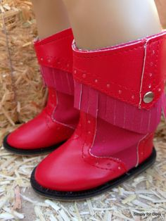 """Red Fringed Cowboy Boots Shoes for 18"""" Girl Doll from American Seller 