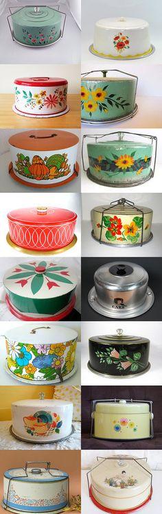 Vintage Metal Cake Carriers