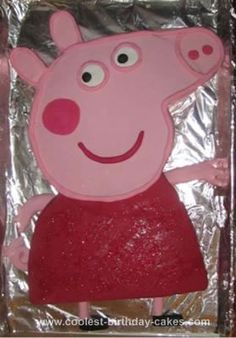 Homemade Peppa Pig Cake: After seeing another Coolest Peppa Pig cake on this website I had a go myself for our daughter's third birthday party. I started with two large round butter
