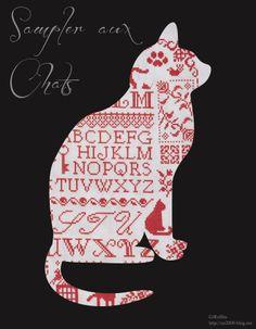 Sampler aux Chats  Designer / Jardin Prive (Nathalie CICHON)  Stitch Count / 254W * 190H  Fabric / 32ct Belfast Linen Zweigart - Vintage Smokey White  Thread / DMC