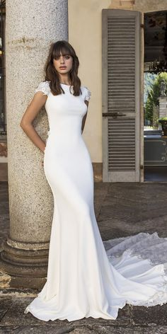 pinella passaro 2018 bridal cap sleeves bateau neck simple clean elegant classy fit and flare sheath wedding dress keyhole back chapel train mv -- Pinella Passaro 2018 Wedding Dresses Classy wedding dresses Top Wedding Dresses, Wedding Dress Trends, Bridal Dresses, Wedding Ideas, Wedding Planning, Wedding Bride, Fall Wedding, Modest Wedding, Dresses Dresses