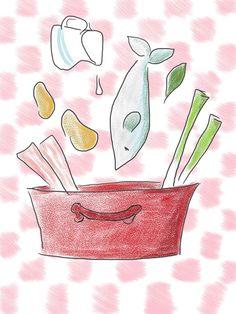 illustration by Sanne Boswinkel fish pot, vispotje www.sannekookt.nl