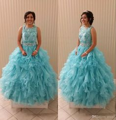89b59e307c8 Quinceanera Dresses 2017 With Ruffles Skirt And Lace Bodice Real Pictures  Light Sky Blue Organza Ball Gown Sweet 15 Dress Zipper Unique Dresses Bride  Dress ...