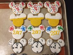 Mickey Mouse New Years Eve Cookies decorated sugar cookies